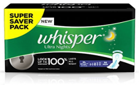 Buy Whisper Ultra Overnight Sanitary Pads XL Wings 30 Piece at Rs 175 Amazon