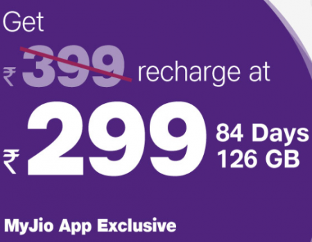 Jio Recharge Offers- Get Rs 399 Recharge just at Rs 299 Only [Jio App Offer]