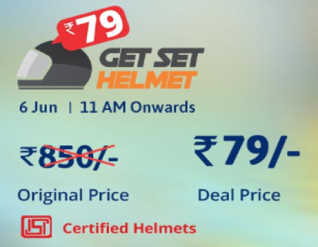 Droom Get Set Helmet Sale: Buy Droom Certified Helmets just at Rs 79 Only On 18th July 2018 at 11 Am onwards