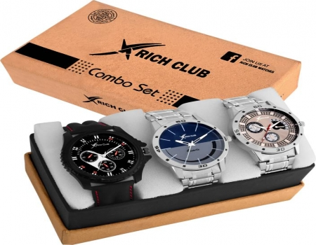 Buy Rich Clbu Combo Of Three Metallic And Leather Super Quality Watch just at Rs 499 Only From Flipkart