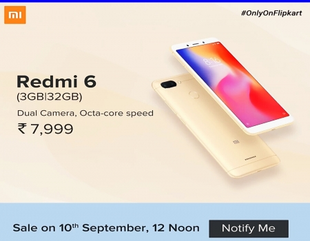 Xiaomi Redmi 6 Flipkart Price just @Rs 7999: Next Sale Date on 11th Nov 12PM, Specifications & Buy Online In India