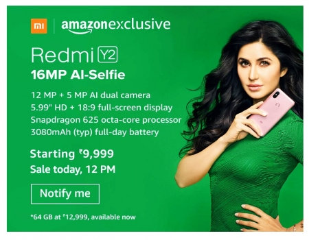Buy Redmi Y2 Amazon Price at Rs 9,999: Sale On 14th Sep at 12PM, Specifications & Buy Online + Get Extra 5% instant Discount* Via HDFC credit/debit ca