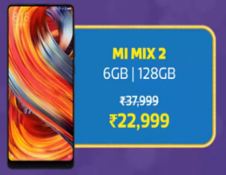 Buy Mi Mix 2  Big Billion Day Sale Price just at Rs 22,999 only on Flipkart, Get Extra 10% Instant Discount* with HDFC Bank Debit and Credit Cards