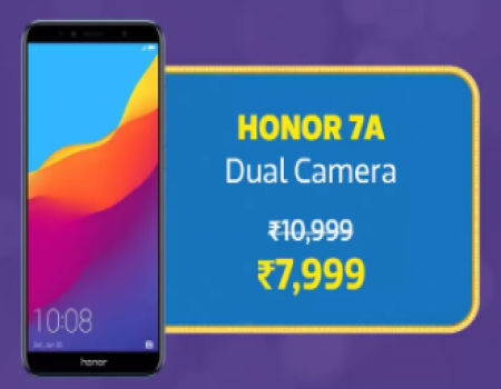 Huawei Honor 7A [3GB, 32GB, Blue] Flipkart price, specifications, Buy Online starting just at Rs 7,999, Extra 10% Cashback* on Citi Credit Card