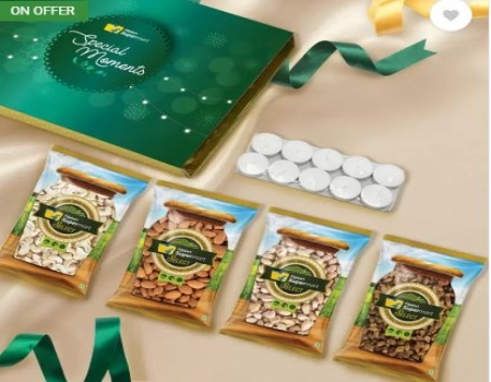 Buy Dry Fruits Gift Box (Almonds, Cashews, Raisins, Roasted & Salted Pistachios- 100g each) by Flipkart Supermart Special with 10 pcs Tealight Candles