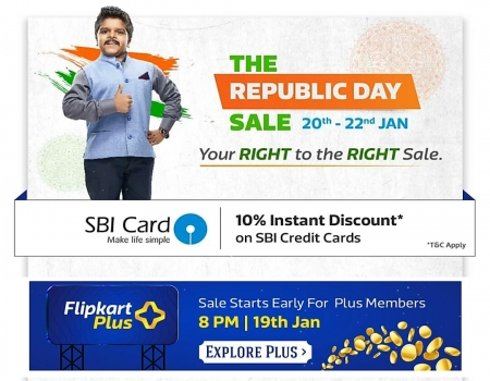 Flipkart Republic Day Sale from 20th-22nd Jan 2019: Get Upto 80% OFF on Branded Clothing, Mobiles + Extra 10% instant Discount On SBI Credit Cards