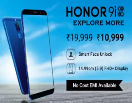 Buy Honor 9i (Graphite Black, 64 GB, 4 GB RAM) just at Rs 10,999 on Flipkart