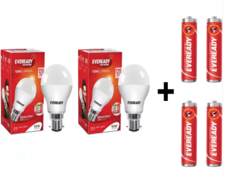 Buy Eveready 10W LED Bulb Pack of 2 with Free 4 Batteries (White, Pack of 2) at Rs 159 Only from Flipkart