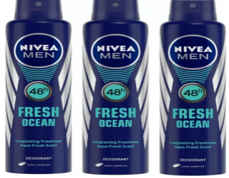 Buy Nivea Men Fresh Ocean Deodorant Combo Body Spray - For Men (450 ml, Pack of 3) just at Rs 269 Only