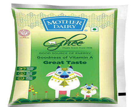 Buy Mother Dairy Cow Ghee Pouch, 1L just at Rs 439 only from Amazon