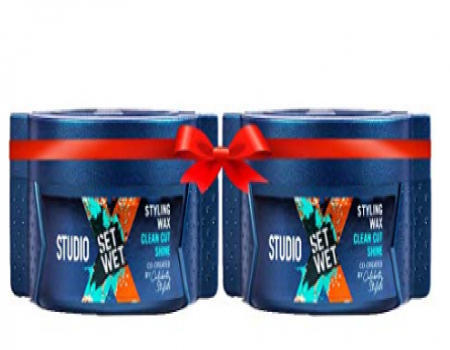 Buy Set Wet Studio X Clean Cut Shine Hair Styling Wax For Men, 70g (Pack of 2) at Rs 249 from Flipkart
