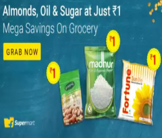 Flipkart Grocery Offers: Buy Grocery Products at Upto 99% OFF starting Just at Rs 1 on From Flipkart Grocery, HDFC, ICICI Bank Offers