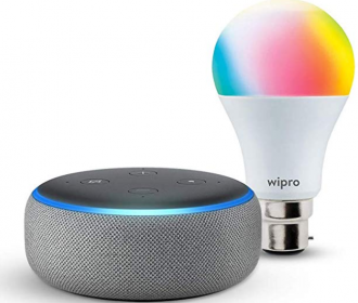 Buy Echo Dot (Black) bundle with Wipro 9W Smart Color Bulb at Rs 2299 from Amazon