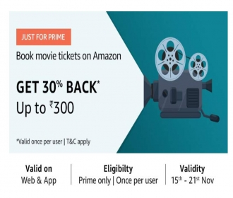 Amazon Movie Offers: Flat 30% Cashback Upto Rs 150 on Movie Ticket Bookings on Amazon