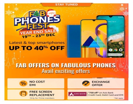 Amazon Fab Phones Fest Offers: Get Upto 40% OFF on Mobiles, Extra Upto Rs 750 OFF On Mobiles Via Axis Bank Cards [19th To 23rd December 2019]
