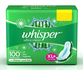 Buy Whisper Ultra Clean XL+ Sanitary Pad (Pack of 44) at Rs 259 from Flipkart