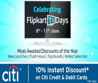 Flipkart TV Days Offers [8th To 11th June 2020]: Get Upto 65% OFF on HD Smart LED Televisions, Extra 10% Instant Discount on All Debit & Credit Cards,
