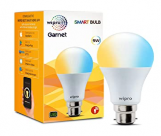 Wipro Garnet 9W Smart Bulb- Compatible with Alexa and Google Assistant @ Rs 399 from Amazon