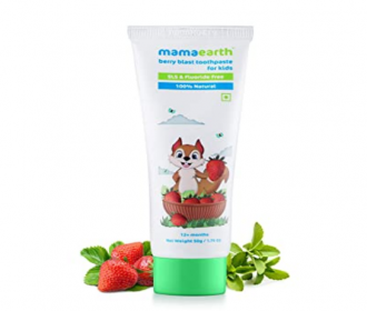 Buy Mamaearth 100% Natural Berry Blast Kids Toothpaste 50 Gm, Fluoride Free, SLS Free, No Artificial Flavours at Rs 122 from Amazon