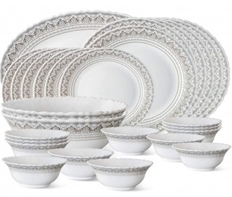 Buy Larah by Borosil Classic Opalware Dinner Set, 27-Pieces, White at Rs 1,799 from Amazon