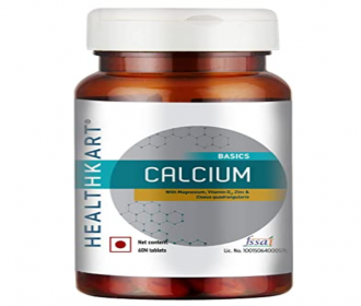 Buy Healthkart Calcium Magnesium Zinc formula with Vitamin D3 for complete bone health & Joint Support for Men & Women at Rs 249 from Amazon