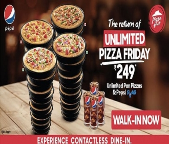 Pizza Hut Unlimited Pizza Offers: Get Unlimited Pan Pizza and Pepsi at Rs 249 only