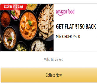 Amazon Food Orders Cashback Offers: Upto 60% OFF, Extra Flat Rs 150 cashback on Food Order on Amazon APP