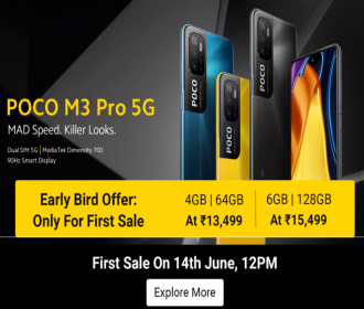 Buy Poco M3 Pro 5G Mobile Flipkart Price In India Rs 13999- First Sale Date on 14th June @12PM, Specifications, Bank Discount Offers