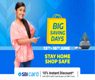 Flipkart Big Saving Days Sale June 2021 Best Shopping Offers- Upto 75% OFF on Mobiles, Electronics, Clothing, Extra SBI Bank Discount