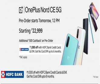 Buy OnePlus Nord CE 5G Smartphone Amazon Price Rs 22999- Pre Order Date16th June @12PM, Get Rs 500 Cashback, Extra HDFC Bank Discount Offer