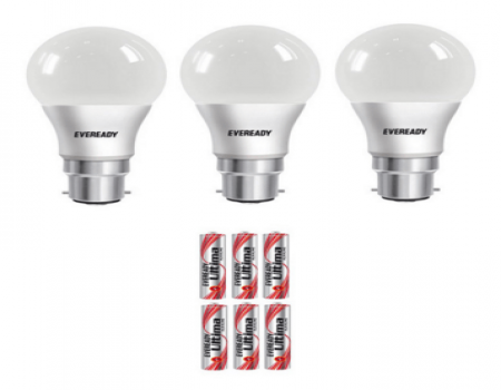 Buy Eveready 9W (Pack of 3) LED Bulb with Free 6 Pc Eveready at Rs 440 Only