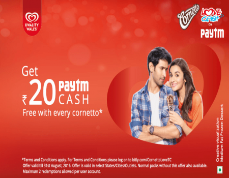Get Free Rs 20 Paytm Cash With Every Kwality Wall's Cornetto