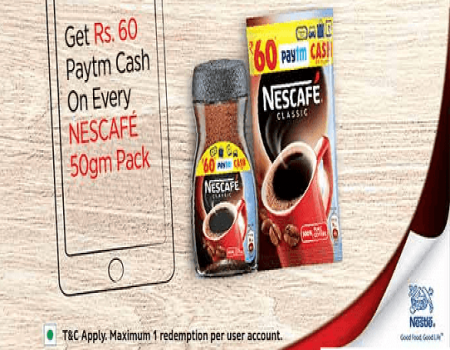 Get Free Rs 60 PayTm Cash on Every Nescafe 50gm from Paytm