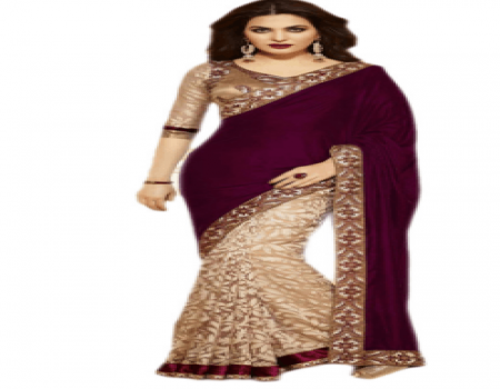 Buy GLANCE STORE Maroon Velvet Saree at Rs 671 Only