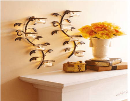 Buy Hosley Wall Sconces With Glass Candle Holders And Tealights at Rs 686 Only