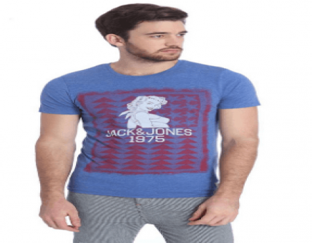 Buy Jack & Jones Blue Half Sleeves T-Shirt at Rs 438 Only