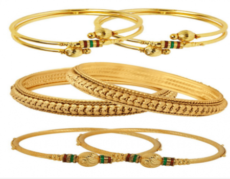 Buy Jewels Galaxy Alloy Gold Plating Studded Gold Coloured Bangle Set at Rs 290 Only