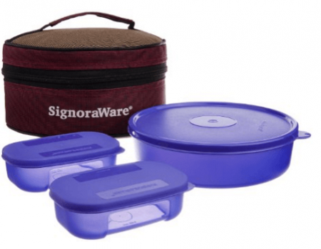 Buy Signoraware Classic Lunch Box Set with Bag, 800ml, Deep Violet at Rs 314 Only