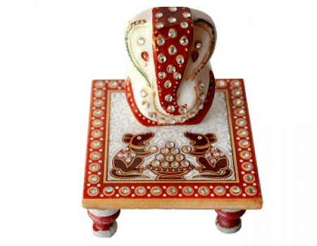Buy Traditional Makrana Marble Lord Ganesha And 1 Piece Of Chowki Ganesh At Rs 99 Only
