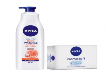 Buy Nivea Whitening Lotion SPF 15 400 ml + Free 2 Nivea Soap 75g At Rs 360 Only