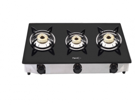Buy Pigeon by Stovekraft Favourite 3 Burner Line Cook Top Stove, Black at Rs 2,300 Only from Amazon