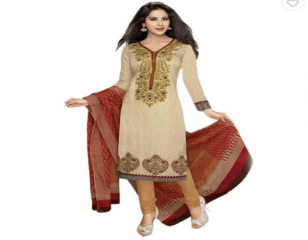 Buy Sonal Dresses Beige Cotton Straight Unstitched Dress Material at Rs 548 Only