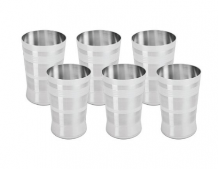 Buy Tosmy Perfect Stainless Steel Glass Set, 275ml, Set Of 6 at Rs 360 Only