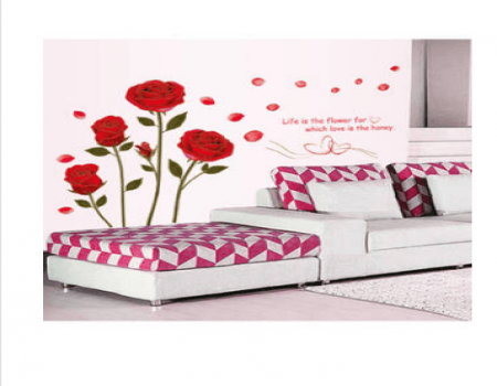 Buy Wall Sticker Bedroom Romantic Rose Flowers at Rs 79 Only