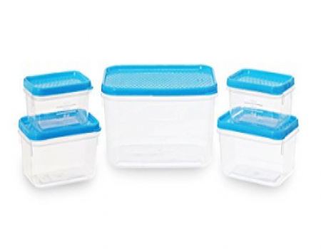 Buy All Time Plastics Polka Container Set, 5-Pieces, Blue from Amazon at Rs 138 Only