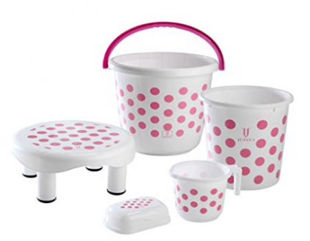 Buy Joyo Rainbow 5 Piece Polypropylene Bathroom Set at Rs 625 Only from Amazon