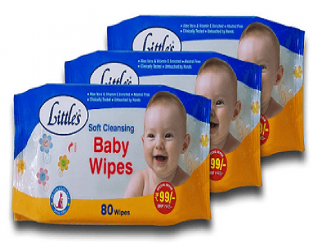 Buy Little's Soft Cleansing Baby Wipes (Pack of 3, 80 Wipes) at Rs 161 from Amazon