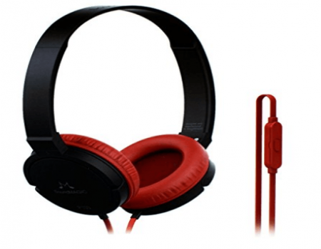 Buy SoundMagic P10S Black Red Headphone with Mic at Rs 399 from Amazon