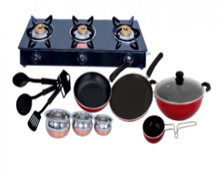 Buy Surya Accent 3 Burner Glasstop Gas Stove + Free 11 Pc Non Stick At Rs 2,999 Only