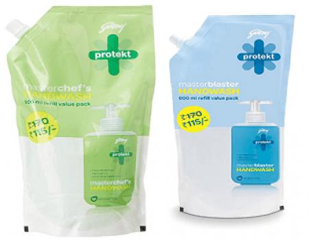 Buy Godrej Protekt Masterblaster Handwash Refill- 1500 ml at Rs 149 from Amazon